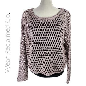 GARAGE Lilac Open Knit Honeycomb Sweater | Medium